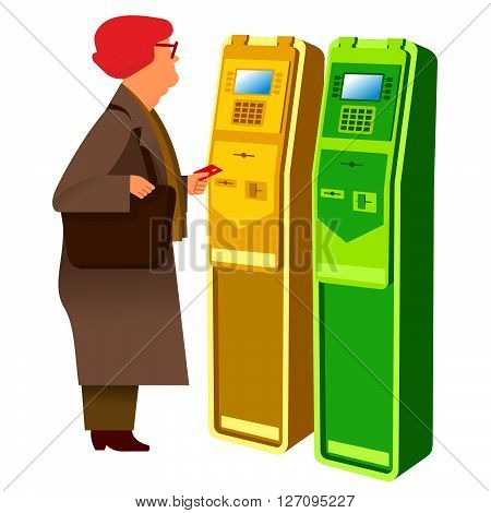 flat Vector images to the flat stationary payment terminal with the character - grandmother-pensioner