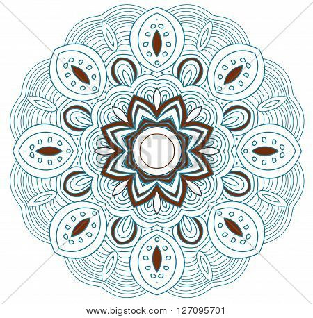 Symmetrical uncolored round tracery with blue and brown contour. Can be used as adult coloring book, coloring page. Yoga sign. Mandala.