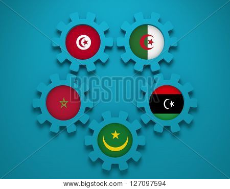 Arab Maghreb Union - association of five national economies members flags on gear. A trade agreement unity among Arab countries of the Maghreb in North Africa. 3D rendering