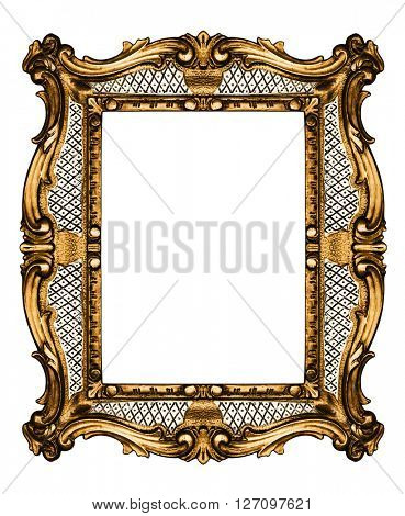 Wooden vintage frame isolated on white -Clipping path
