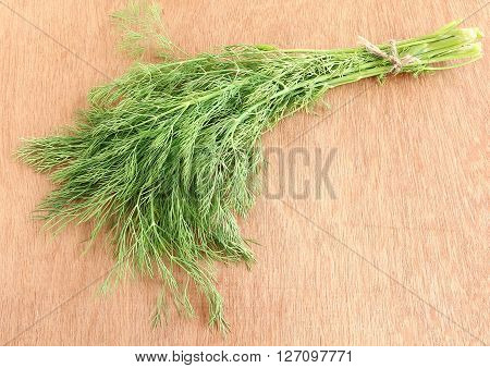 Healthy food dill leaves bunch on a wooden background.