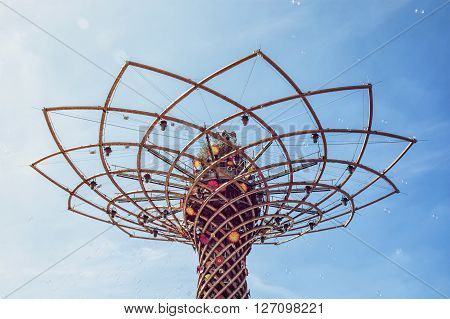 Tree of life at exhibition Expo Milano 2015 Italy. The masterpiece to the world. Detail view. Symbolic art.