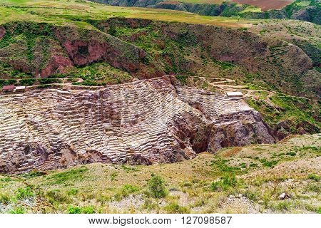 Salt Evaporation Ponds at Maras Village in Peru