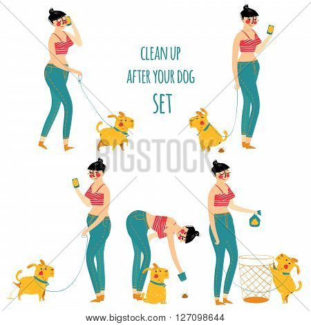 Woman cleaning dog waste, clean up after your pet, vector illustration. Set