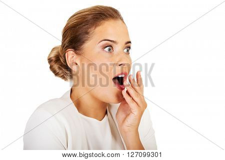 Young shocked businesswoman