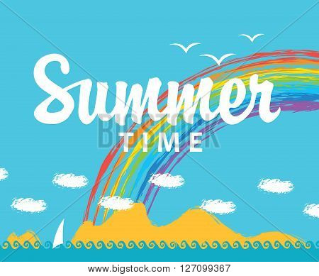 Travel banner with the inscription of the summer time and seascape with mountains and a rainbow