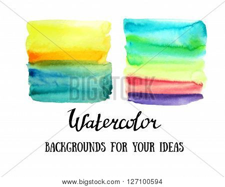 Abstract watercolor art hand paint isolated on white background. Watercolor stains. Square color watercolour banners