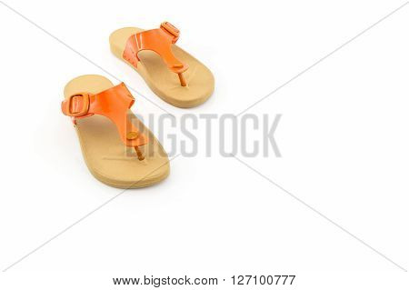 Colorful of Sandals shoes. Flip flops on white background.