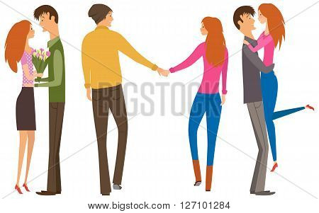 Character couple set with flat design style. Couple of lovers collection, young men and young women set. Redhead women and brunet man. Happy couple collection.