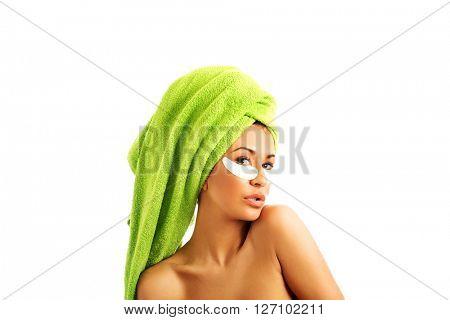Woman with gel eye mask