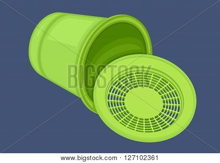 Recycle bin isometric flat vector 3d illustration. Trashcan isometrical icon. Empty garbage basket. Green wheelie. Plastic rubbish container.