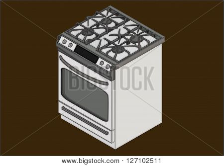 Gas stove with four burners isometric flat vector 3d illustration