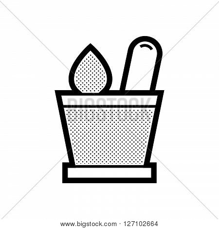 mortar with herbs icon support vector design  eps 10.