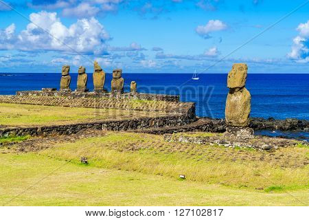 Ahu Tahai Ahu Vai Uri and Pacific Ocean at Tahat Archaeological Complex Easter Island Chile