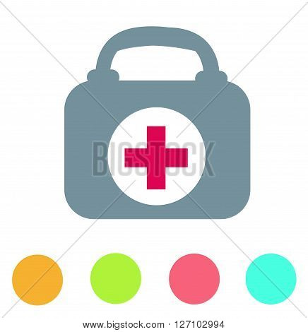 First aid case flat icon on white