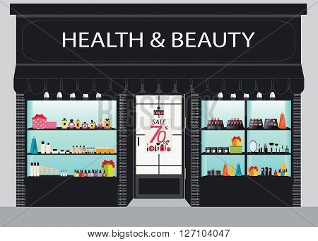 Cosmetics Store Building And Interior With Products On Shelves Shopping Beauty Shop Cosmetic Salon