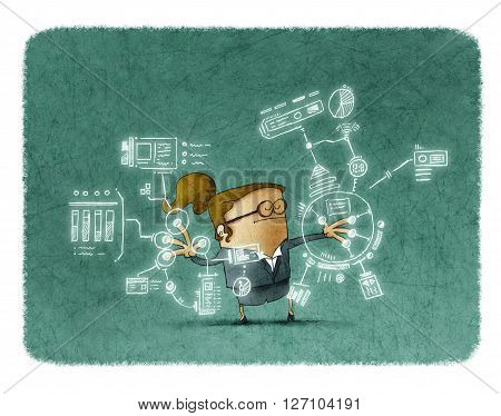 Illustration of businesswoman with eyes closed touching sensor screen