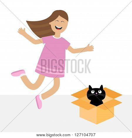 Girl jumping. Gift box with black little cat animal. Happy child jump. Cute cartoon laughing character in dress. Open giftbox. Smiling woman. Isolated White background. Flat design Vector