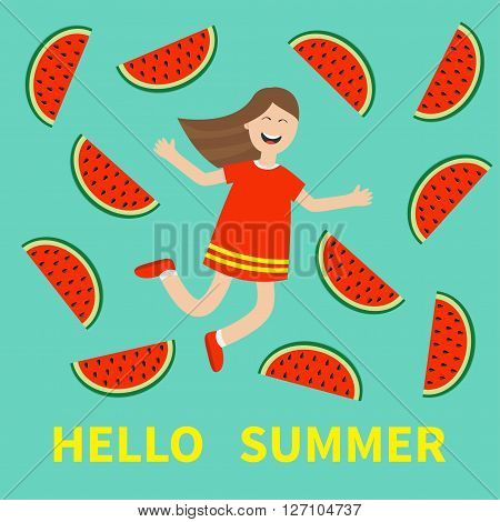Hello summer greeting card. Girl jumping Happy child jump. Cute cartoon laughing character in red dress Watermelon slice background. Smiling woman. Flat design Vector illustration