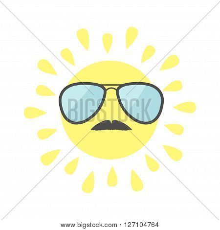 Sun shining icon. Sun face with sunglassess and mustaches. Cute cartoon funny smiling character mustaches. White background. Isolated. Flat design Vector illustration