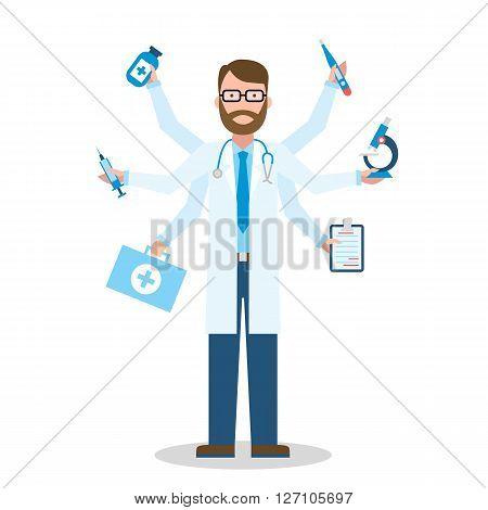 Multitasking Medical Doctor on white multitasking concept.