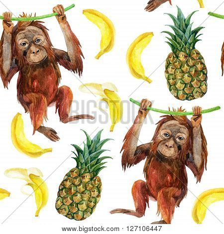 Orangutan baby pineapple and banana seamless pattern. A little monkey and exotic fruites. Watercolor hand painted illustration