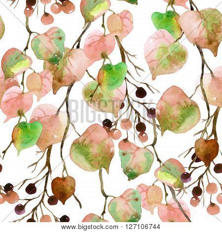 Watercolor autumn leaves branches and berry seamless pattern. Linden leaves and berries branches seamless pattern on white background. Hand painted autumn garden illustration