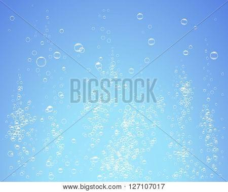 Bubbles under water on blue background vector illustration