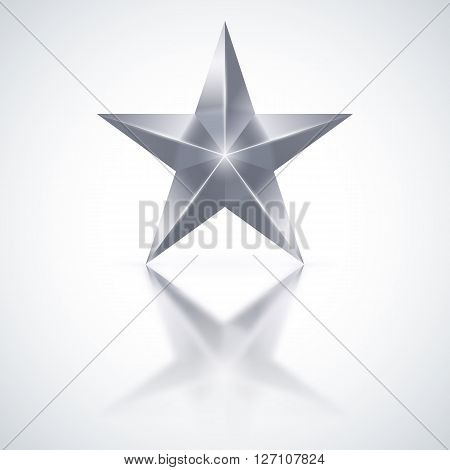 Silver star of five points on white background.