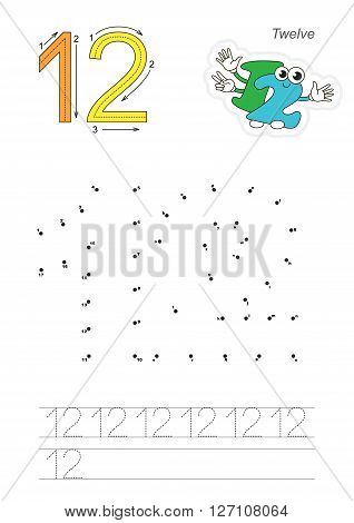 Vector exercise illustrated alphabet. Learn handwriting. Connect dots by numbers. Tracing worksheet for figure Twelve