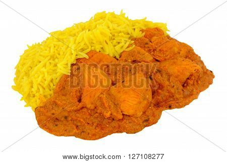 Chicken Tikka Masala Curry With yellow Pilau Rice isolated on a white background
