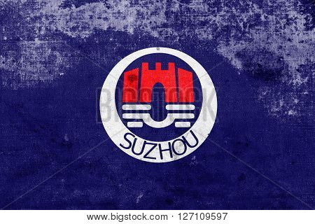 Flag Of Suzhou, China, With A Vintage And Old Look