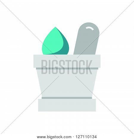 Flat Icon mortar with herbs icon support vector design  eps 10.