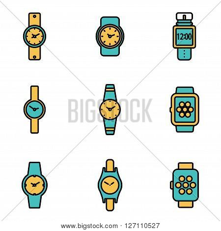 Trendy flat line icon pack for designers and developers. Vector line wristwatch icon set