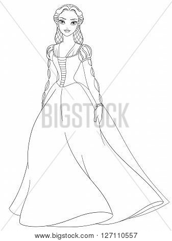 Outlined medieval lady. Coloring page vector illustration.