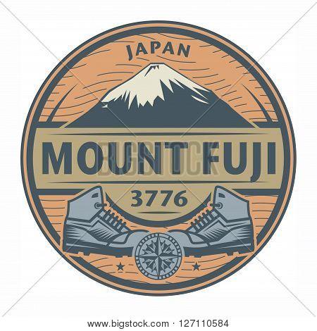 Stamp or emblem with text Mount Fuji Japan, vector illustration
