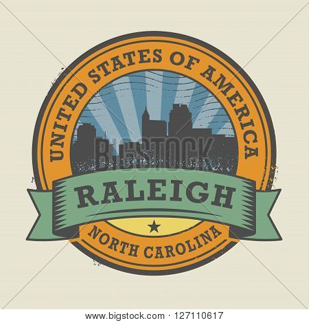 Grunge rubber stamp or label with name of Raleigh, North Carolina, vector illustration