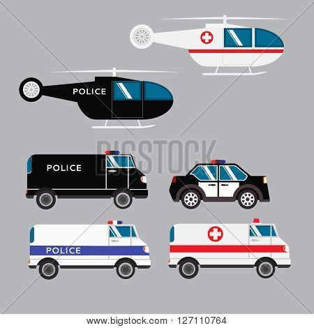 flat set of transport of the emergency services the including police car ambulance and helicopters medical and police