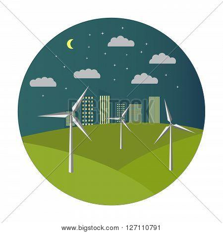 Flat  illustration with solar wind generators at night