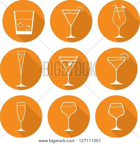 flat icon glass martini glass whiskey champagne olive business cold