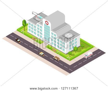 Isometric illustration with the image of hospital, the medical helicopter and an ambulance car.