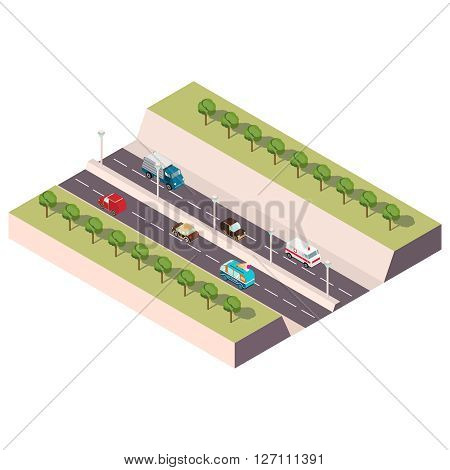 Isometric illustration with the image of the highway with cars and trees
