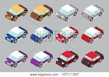 vector Set of isometric car  flat icon