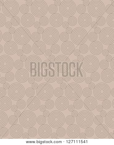 Modern seamless pattern of concentric thin rings monochrome beige background