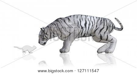Cat Tiger Reflection Staring At Each Other 3D Illustration Render