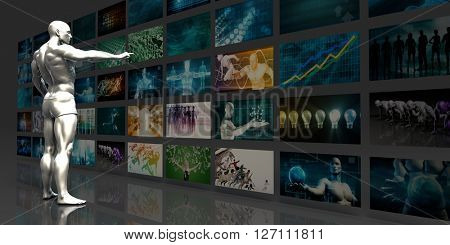 Video Streaming Entertainment Technology as a Concept 3D Illustration Render