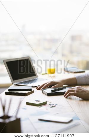 Male Hands And Blank Laptop