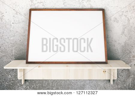 Wooden shelve with blank picture frame on concrete wall. Mock up 3D Rendering