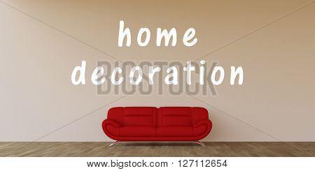 Home Decoration Concept with Home Interior Art 3D Illustration Render