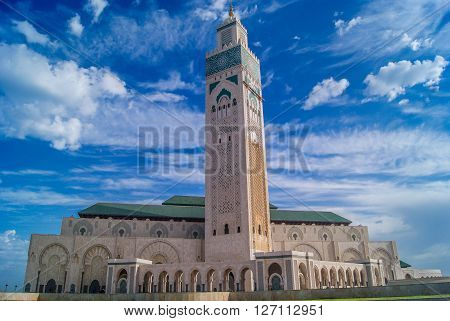 Largest mosque in Morocco with tallest minaret, touristic and religious attraction, Casablanca Africa.